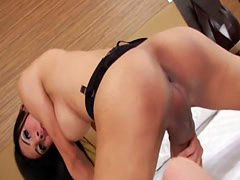 Asian Tgirl Ja Strokes Her Big Cock