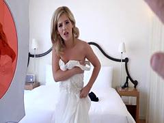 Blonde bridesmaid cheating in wedding dress