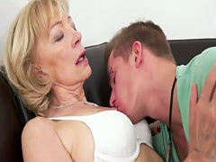 Pussyfucked granny enjoys the taste of cum
