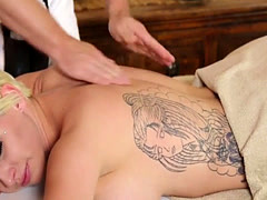 Inked beauty doggystyled by lucky masseur