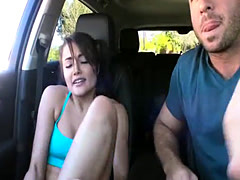 Sexy and lustful Adria Rae gets a helping hand and a car sex