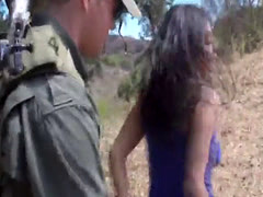 Beautiful Latina babe sucking dick and getting fucked hard by a border