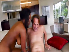 Busty black chick filled by white dick roughly
