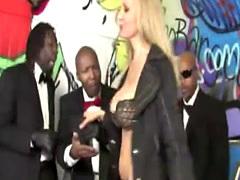 Blonde Julia Ann takes big black cocks in mouth