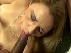 Stunning Sara pleasures a big black cock