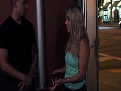 Small tittied pervert slut Valerie White fucked rough in dark street a