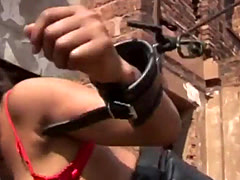 Curly-haired slave from Africa sucks dicks and gets fucked outdoors