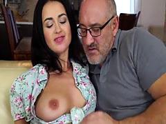 Hot Brunette Teen Enjoys Mature Cock