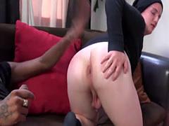 Twink gobbles black cock