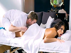 Kinky babe body massage and asshole rammed by huge hard cock