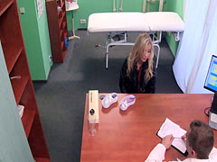 Sexy blonde patient in lingerie at doctors