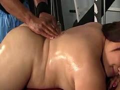 Fat Asian slut rides a black dong