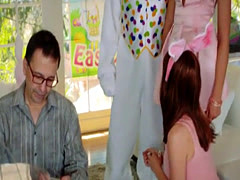 Teen Avi Love drilled by pervert easter bunny on the couch