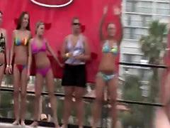 Lovely lassies dance in their bikinis