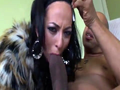 Raunchy interracial action with a skinny bint
