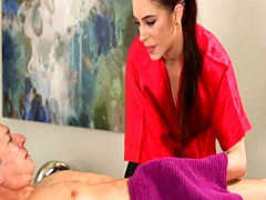 Sexy masseuse sucks off and screwed by her nasty client