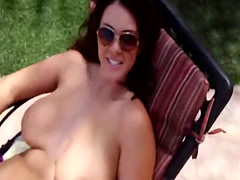 Busty brunette chick Alison gives head outdoors