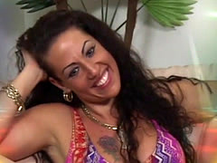 Filthy mother moans while gett...