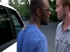 Easy to please blonde beard gay tricked by big black cock agent
