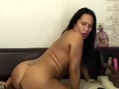 Mature Latina Riding Huge Black Dildo