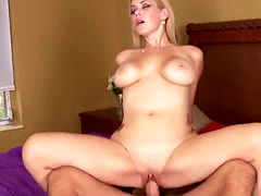 Blonde cougar Kylie Knight riding dong in bedroom