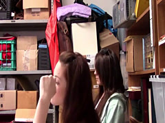 Two sexy teen shoplifter gets fucked in the back room