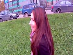 Pickedup euro teen facialized outdoors