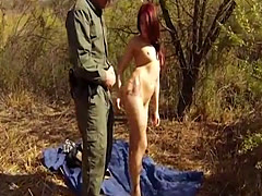 Redhead chick gets fucked to smuggle goods at the border