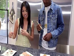 Long black dong for Asian babe Cindy in kitchen