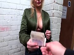 Hot blonde Katy Jayne trades sweet pussy for cash