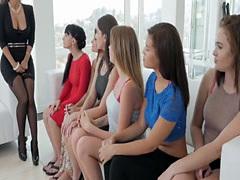 Beautiful chicks engage in massive lesbian orgy