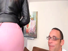 Latina tgirl assfucked in stockings