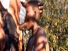 African Slave Forced Into Sucking Cock Outdoors