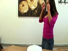 Nerdy japanese masseuse makes her client cum