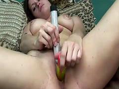 Busty honey likes masturbating in the bed