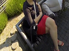 Busty teen POV banged at a public park