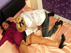 Euro lesbos straponfucking and covered in cum