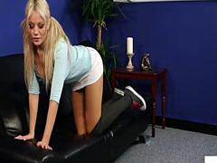 Busty english voyeur instructing tugging sub