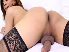 Bubble butt latin shemale Candy Licious strokes her big cock