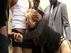 Busty blond hottie Sarah Vandella DP by big black cocks