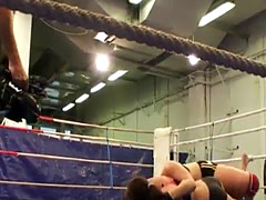 Naked lesbians wrestling in a boxing ring
