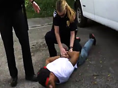 Outdoor interracial threesome with big black cock and busty police off
