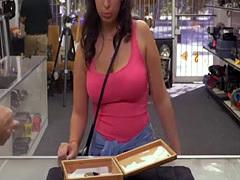 Busty babe Nina riding pawnshop owners big cock