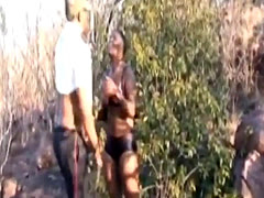 Busty African Slave Forced To Suck Cock Outdoors