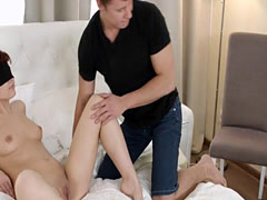 Redhead girlfriend rides cock in front of bf