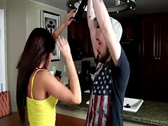 Cuckolding beauty restrains her cheating bf