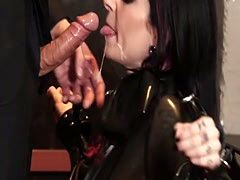 Throated goth MILF sucks dick ass to mouth