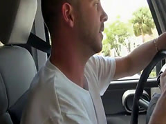 Sexy woman flashes tits and drilled in the van for cash