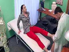 Injured ankle babe bangs doctor