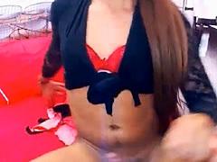 Slutty Shemale Masturbate Hard Cock on Cam